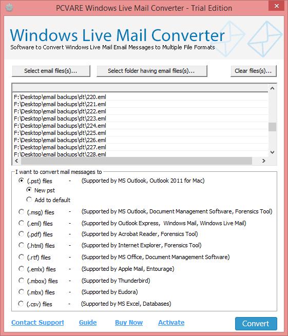 Windows Live Mail Converter full screenshot