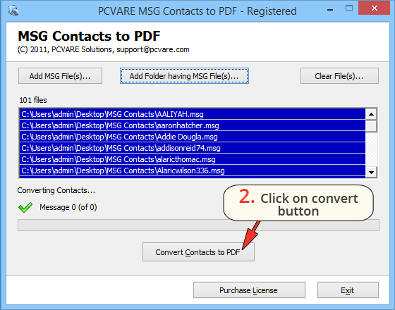 PCVARE MSG Contacts to PDF Converter