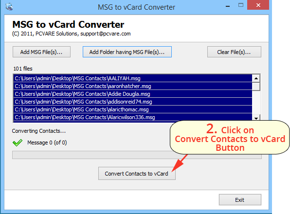 PCVARE MSG to vCard Converter