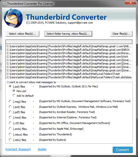 Save Thunderbird Emails as PST