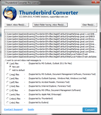 Thunderbird emails to Outlook 2013 7.4.9