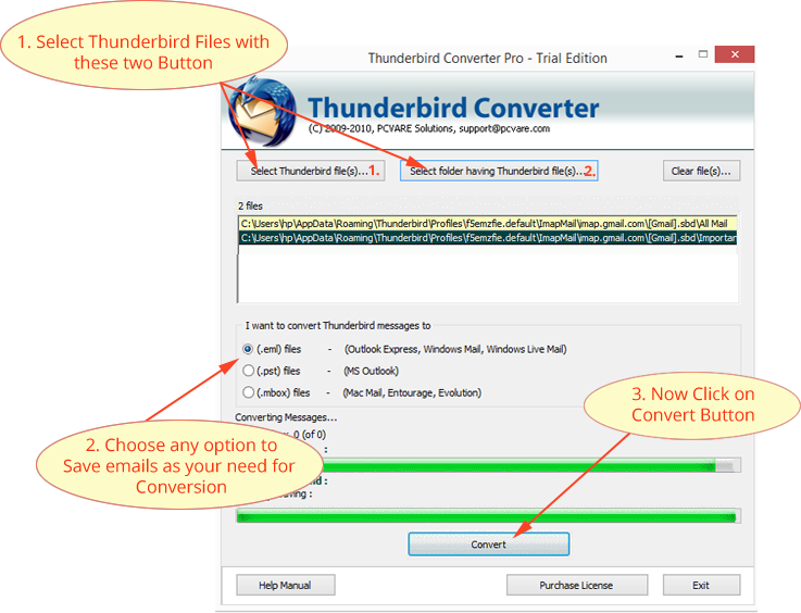 Export Thunderbird to PST File