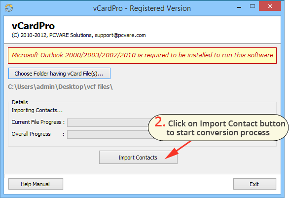 vCard to Outlook converter