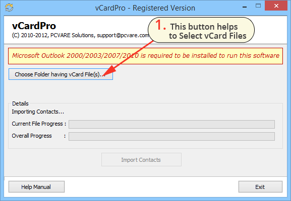import VCF contacts to Outlook