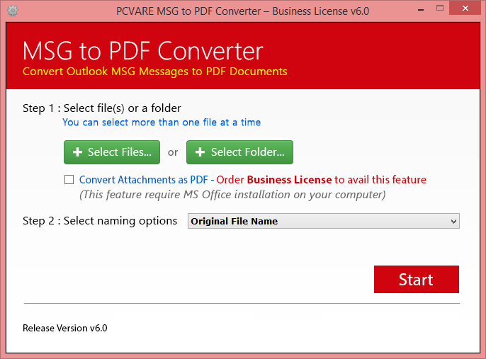 PCVARE MSG to PDF tool