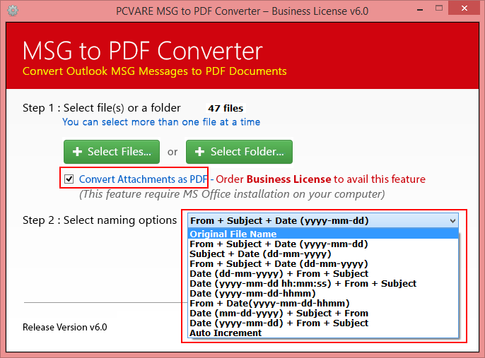 Forward email from Outlook to PDF full screenshot